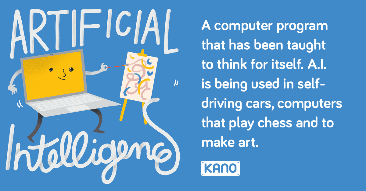 Artificial Intelligence - A computer program that has been taught to think for Itself. A.I is being used in self-driving cars, computers that play chess and to make art