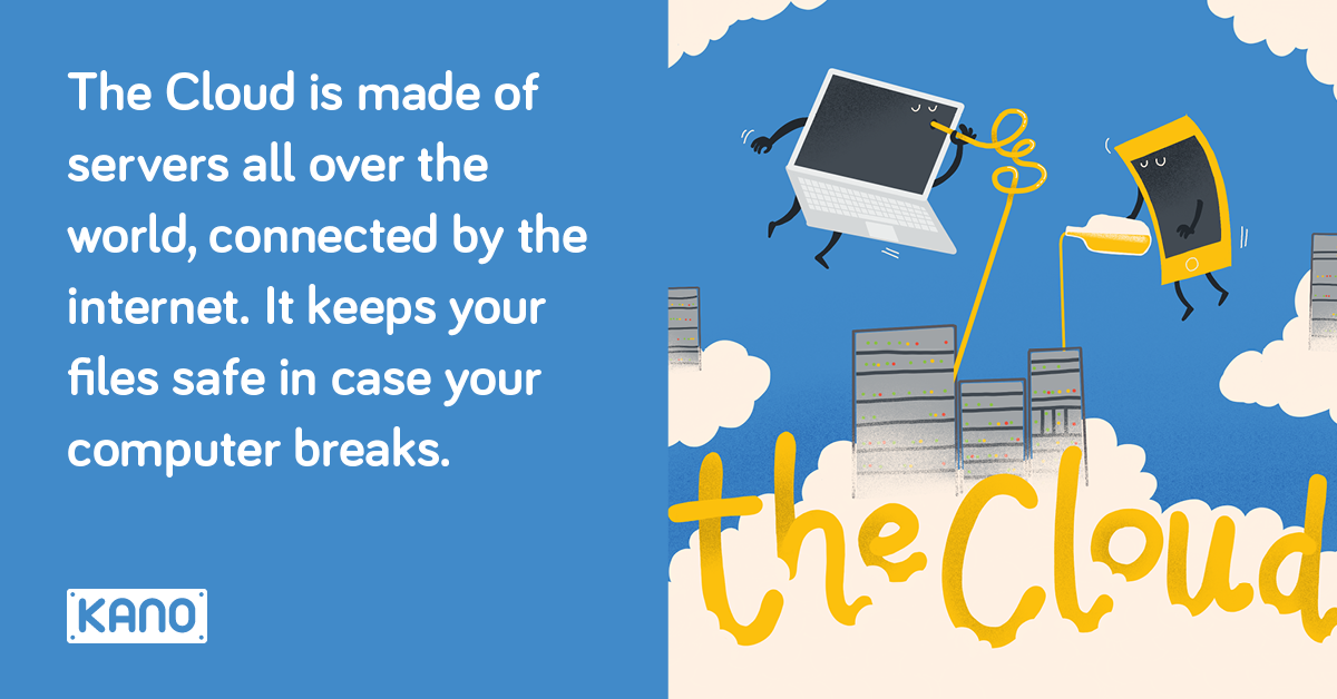 Cloud Computing - The Cloud is made of servers all over the world, connected by the internet. It keeps your files safe in case your computer breaks.